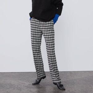 NWT Zara Size XS Plaid High Waist Pants